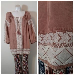 Boho hippie insp soft embroidered blouse